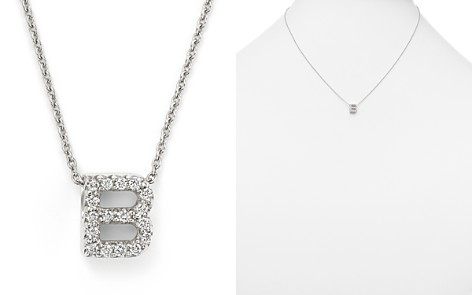 "Roberto Coin 18K White Gold Initial Love Letter Pendant Necklace with Diamonds, 16"" - Bloomingdale's_2"